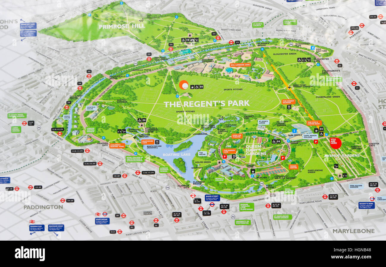 Regents Park map London Stock Photo 130776808 Alamy