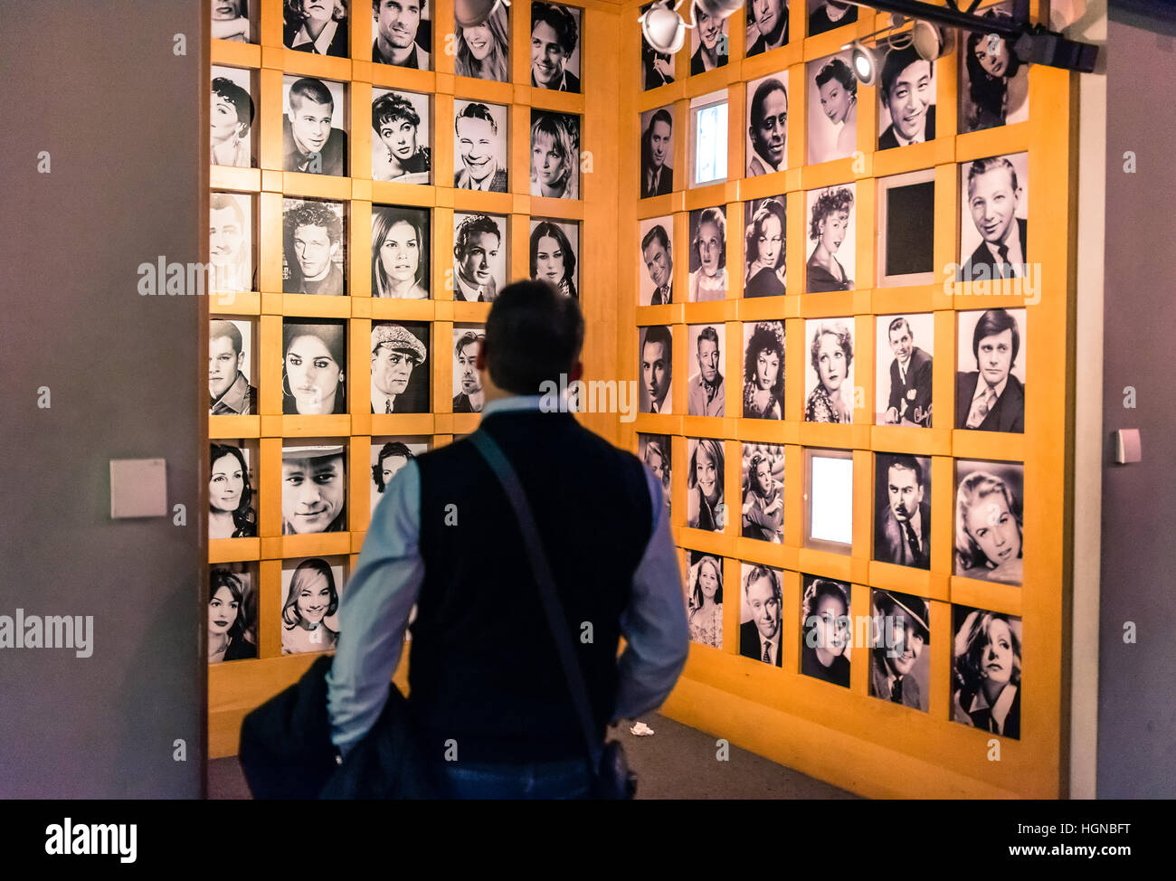 tourist visit National Museum of Cinema in Turin, Italy. - Stock Image