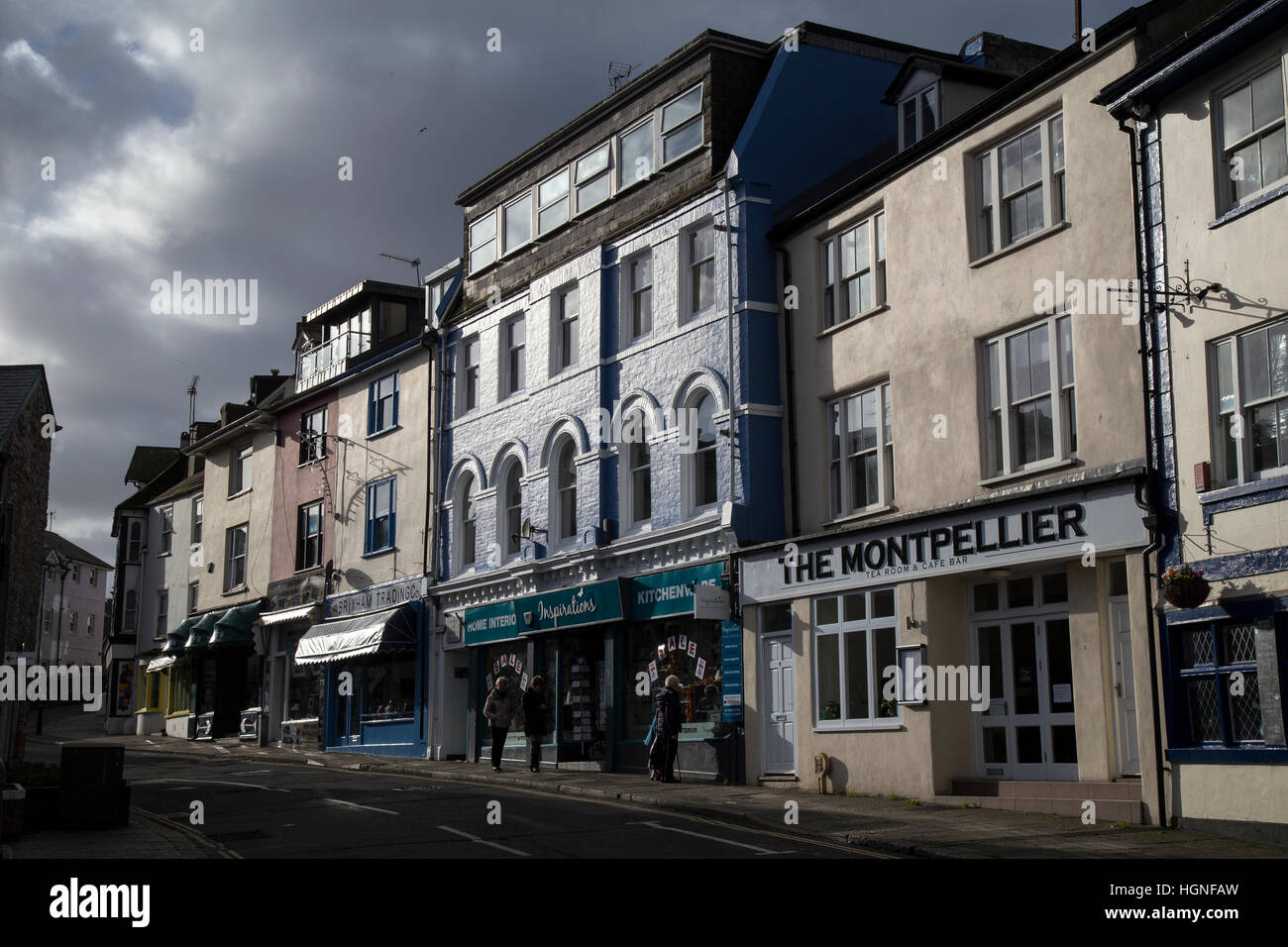 brixham street,high street,retail,holidaymakers,housing, - Stock Image
