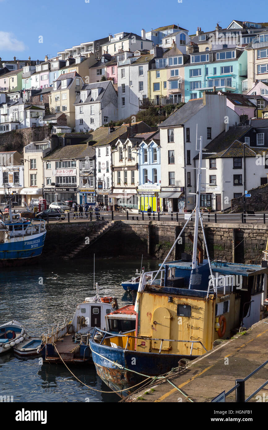 Brixham,,fishing,Trawler,fishing fleet, english, boat, haven, ripples, view, day, ropes, attraction, sunny, masts, - Stock Image