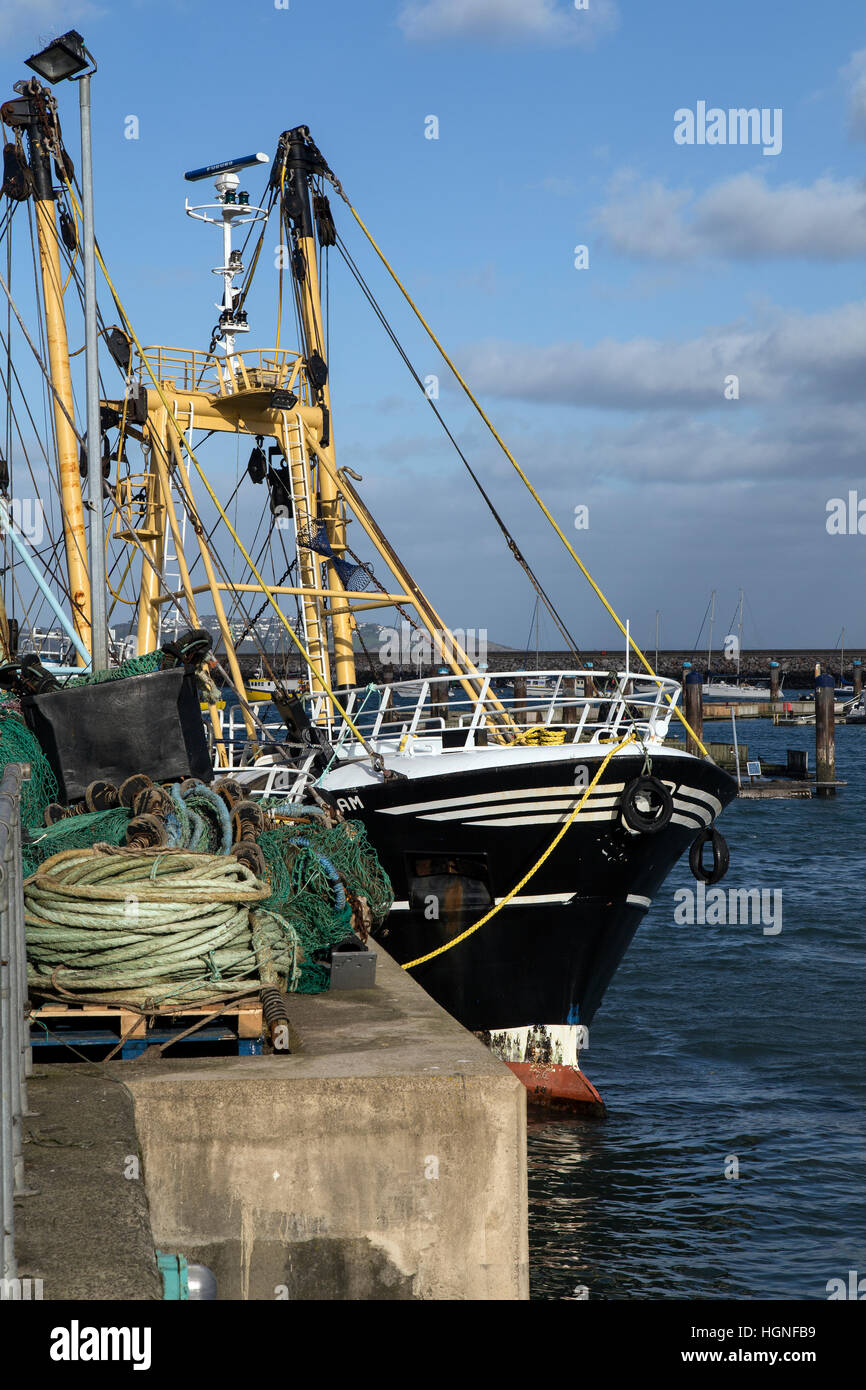 ywords  brixham trawler, fishing, yachts, english, boat, haven, ripples, view, day, ropes, attraction, sunny, - Stock Image
