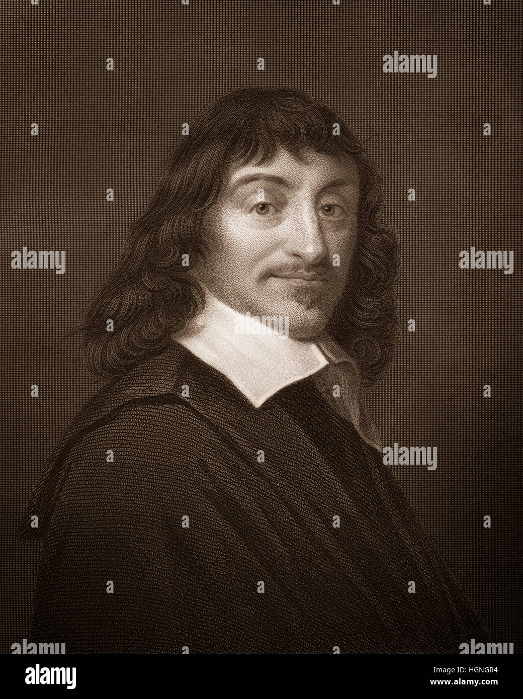 Steel engraving, c. 1860, René Descartes or Renatus Cartesius, 1596 - 1650, a French philosopher, mathematician - Stock Image