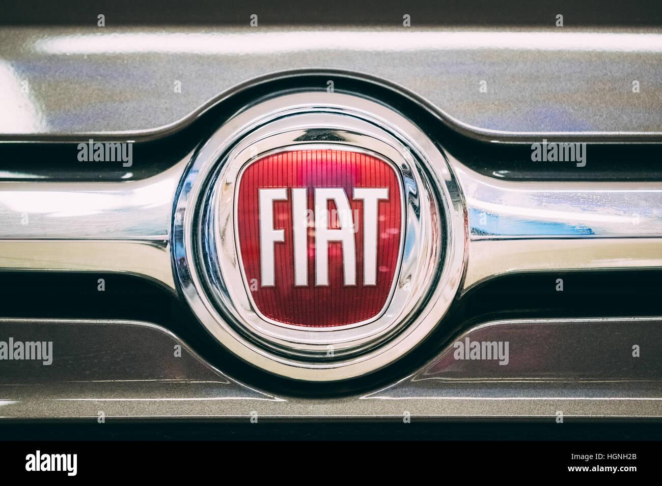 Tallinn, Estonia - December 2, 2016: Close Up Logo logotype Of Fiat is Italian holding company whose original and - Stock Image