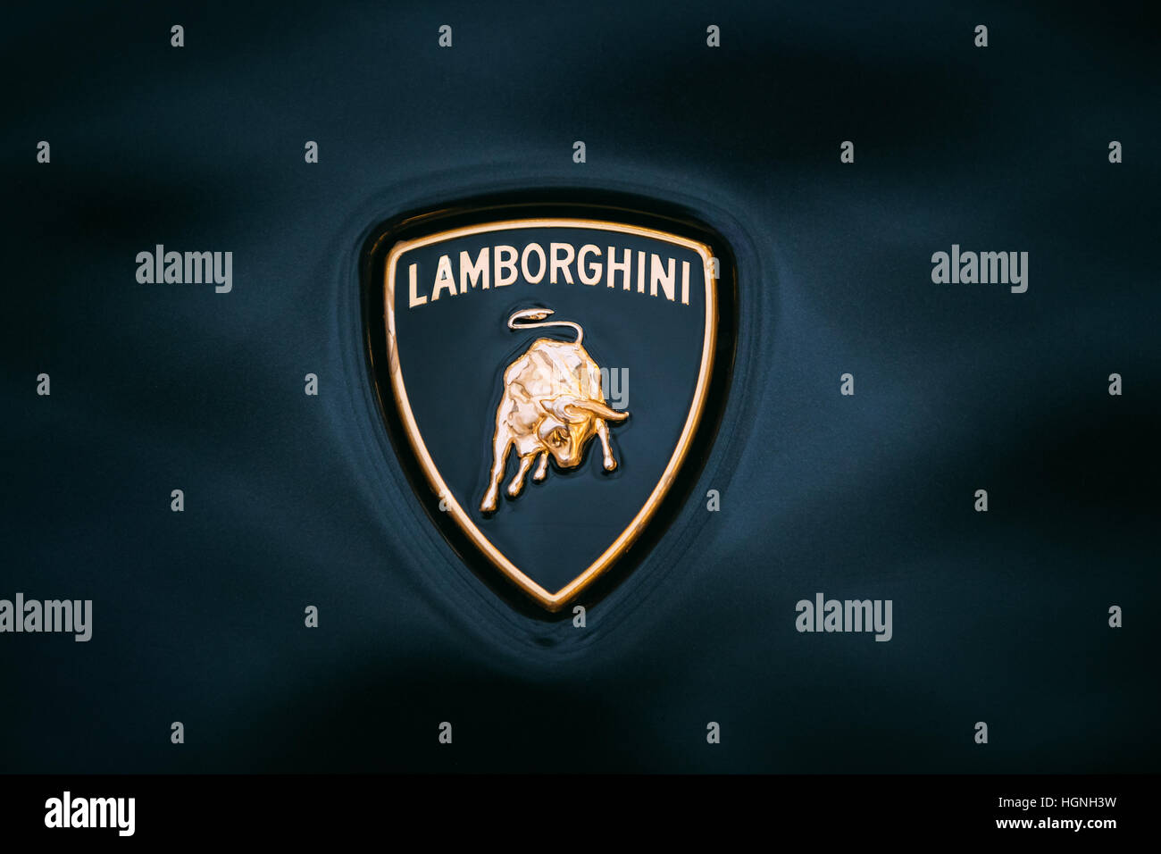 Tallinn Estonia December 2 2016 Close Logo Of Lamborghini Stock