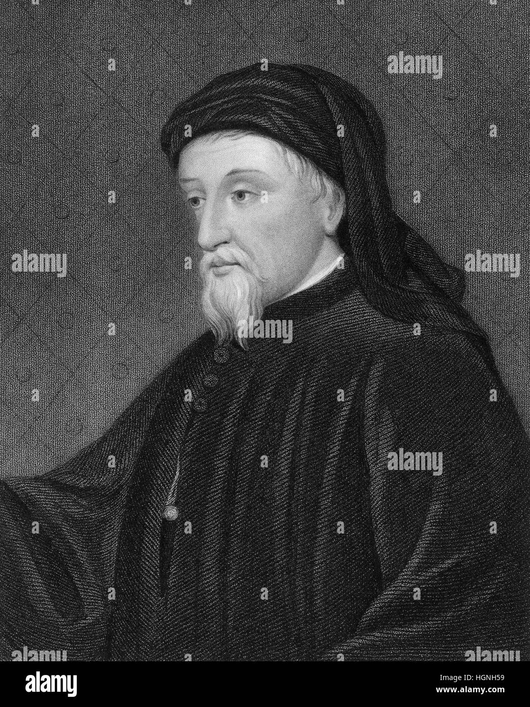 Geoffrey Chaucer, ca. 1343 - 1400, the greatest English poet of the Middle Ages - Stock Image