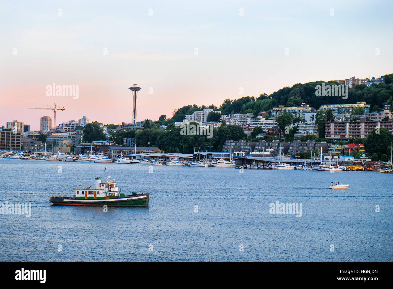 View of the Seattle skyline across Lake Union from Gasworks Park. - Stock Image