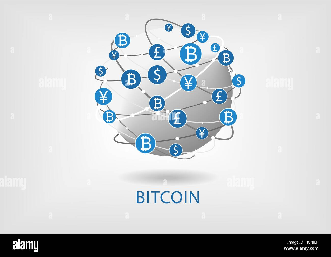 Bitcoin vector illustration of connected world wide web for internal money transfer - Stock Image