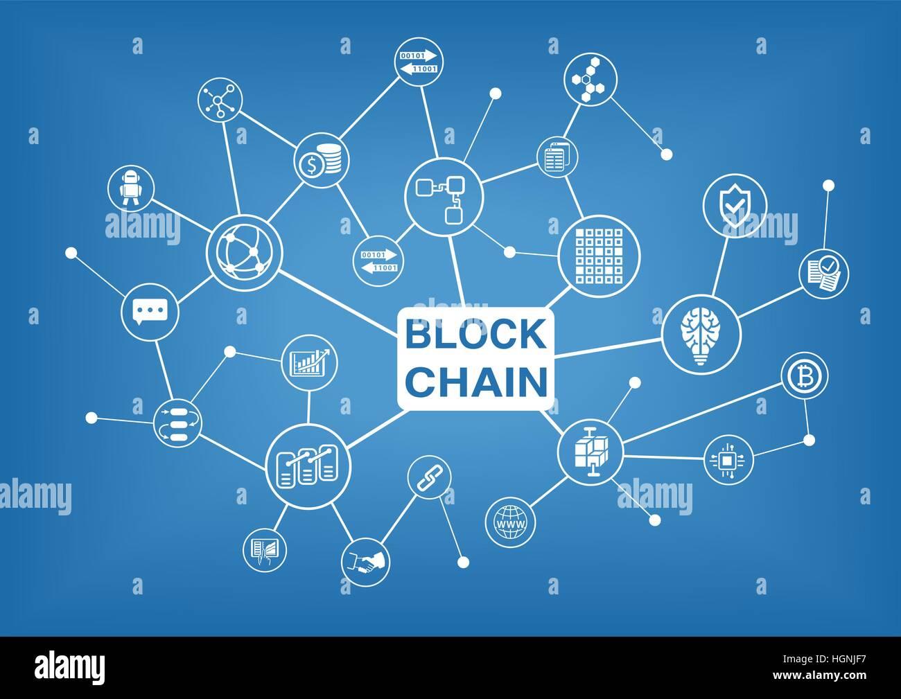 Blockchain vector illustration background - Stock Image