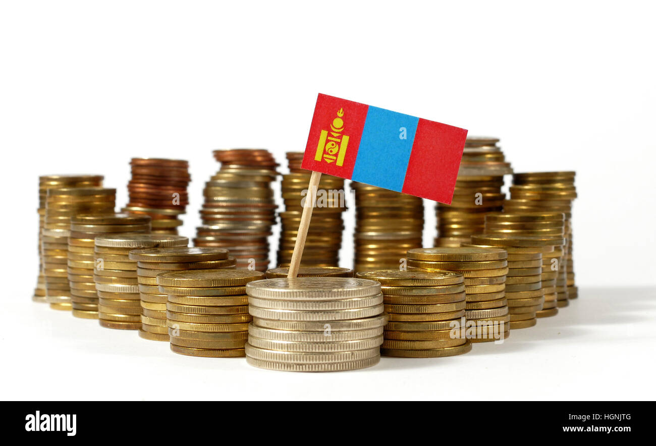 Mongolia flag waving with stack of money coins - Stock Image