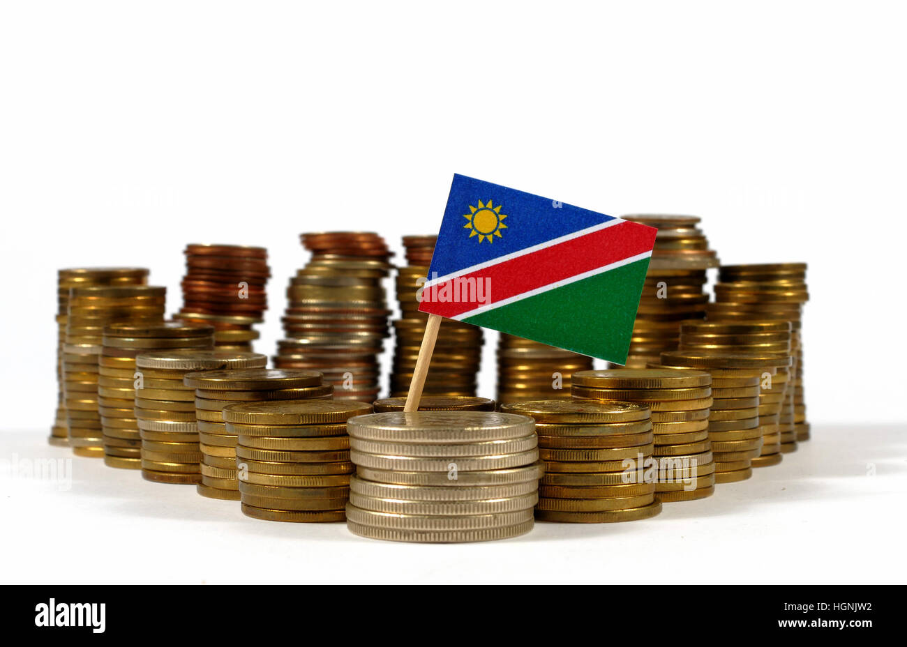 Namibia flag waving with stack of money coins - Stock Image