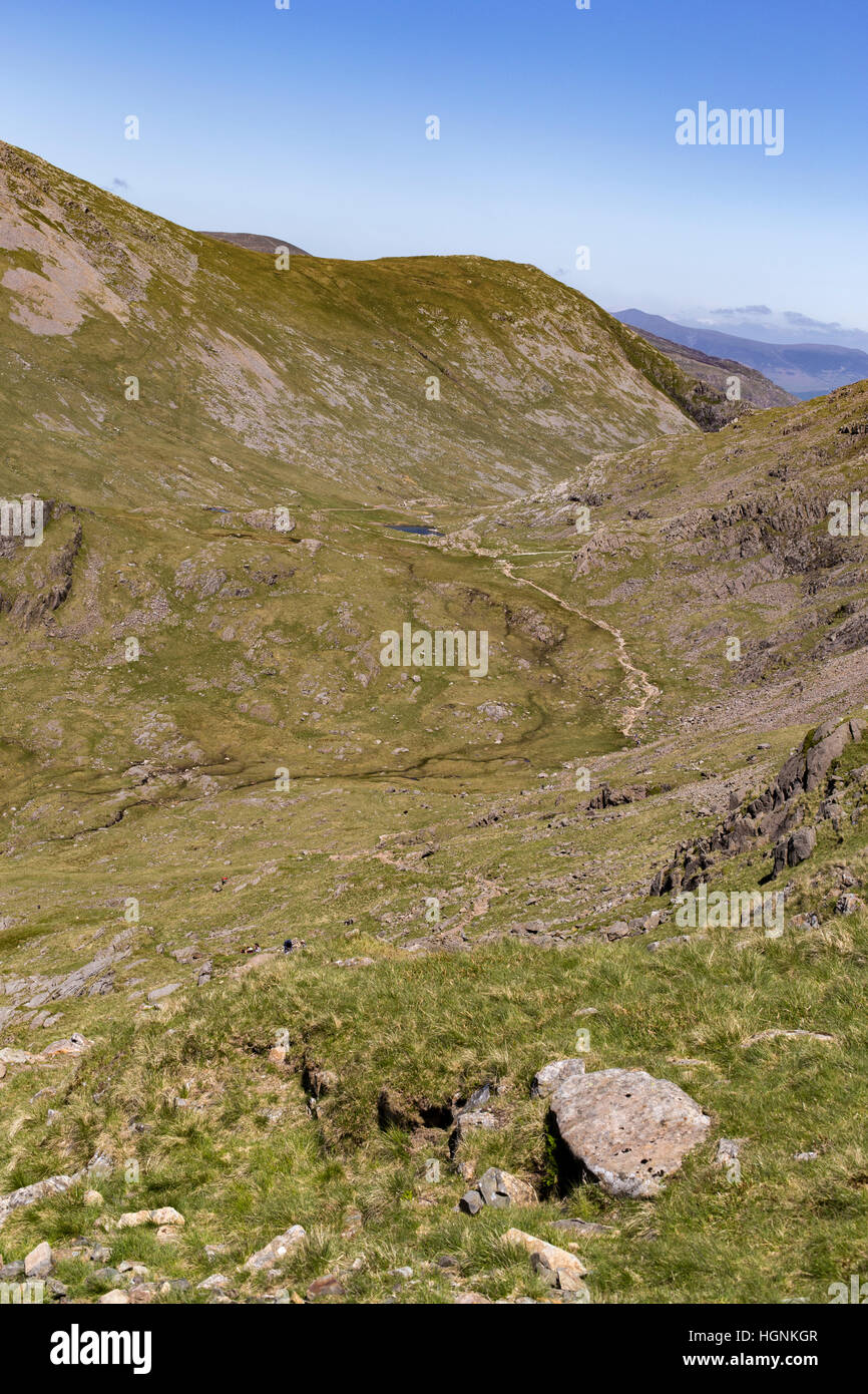 Corridor Route from flanks of Scafell Pike. Flanks of Great Gable and Green Gable in the distance. Stock Photo