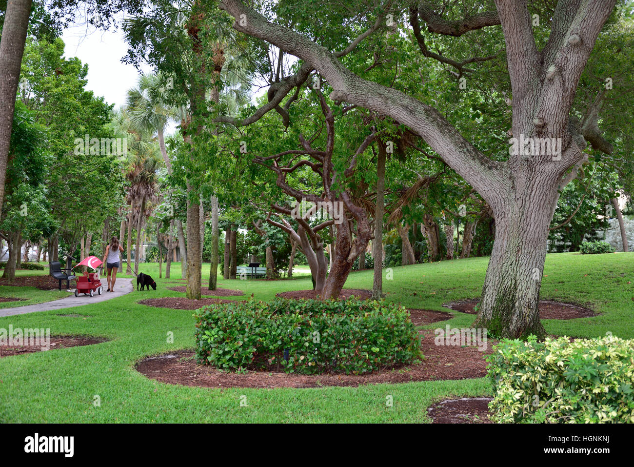 The small Pompano Beach Indian Mound park, Fort Lauderdale, Florida, USA - Stock Image