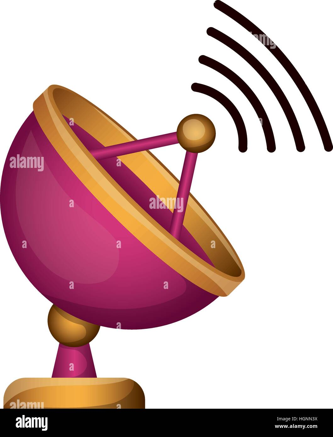 Antenna icon. Signal broadcast internet and technology theme. Isolated design. Vector illustration - Stock Image