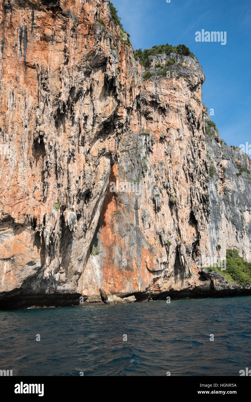 limestone cliffs around Phi-Phi island day time - Stock Image