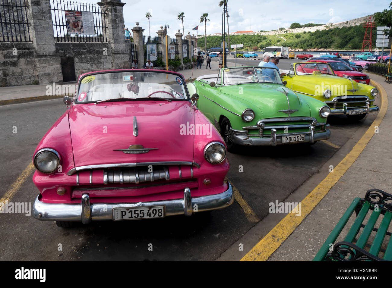Havana, Cuba. Restored vintage American cars from the 50s in the ...