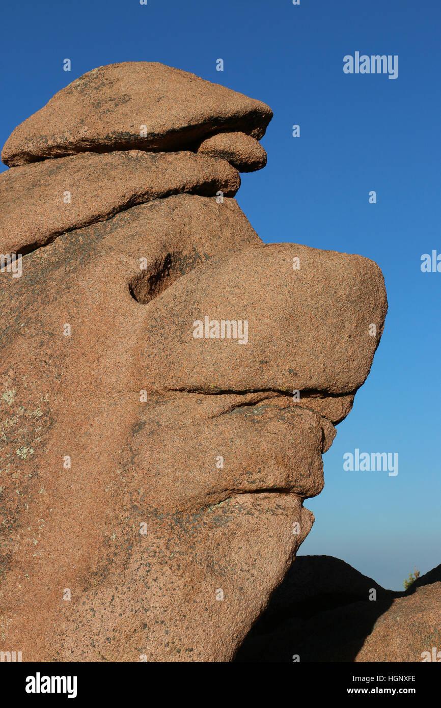 Face like rock Garden of the Gods Park Colorado Rocky Mountain Stock Photo