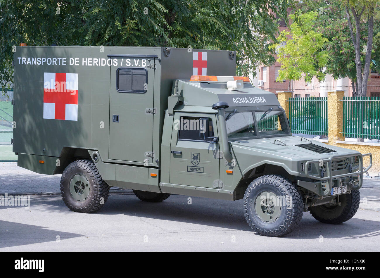 Vehicles of spanish army. URO VAMTAC S3. Military ambulance. Red Cross. - Stock Image