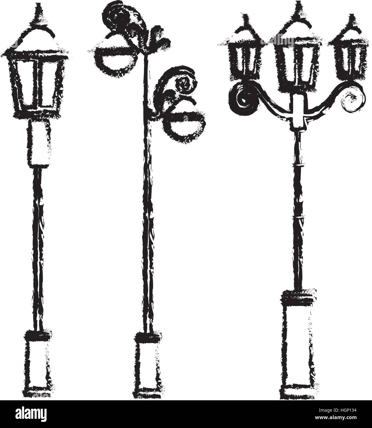 street lamp icon image sketch style vector illustration design Stock Vector
