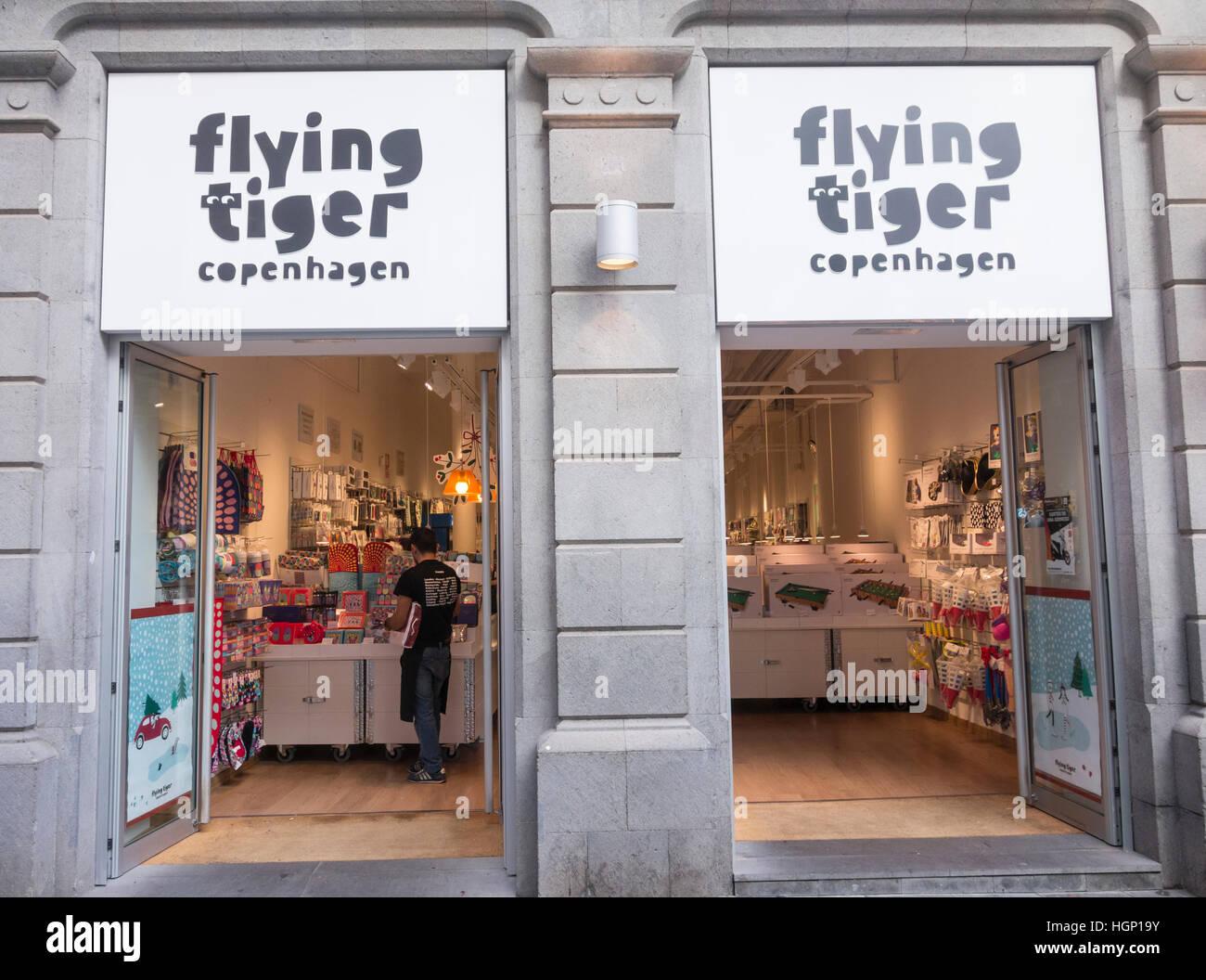 flying tiger copenhagen store in spain stock photo 130791079 alamy. Black Bedroom Furniture Sets. Home Design Ideas