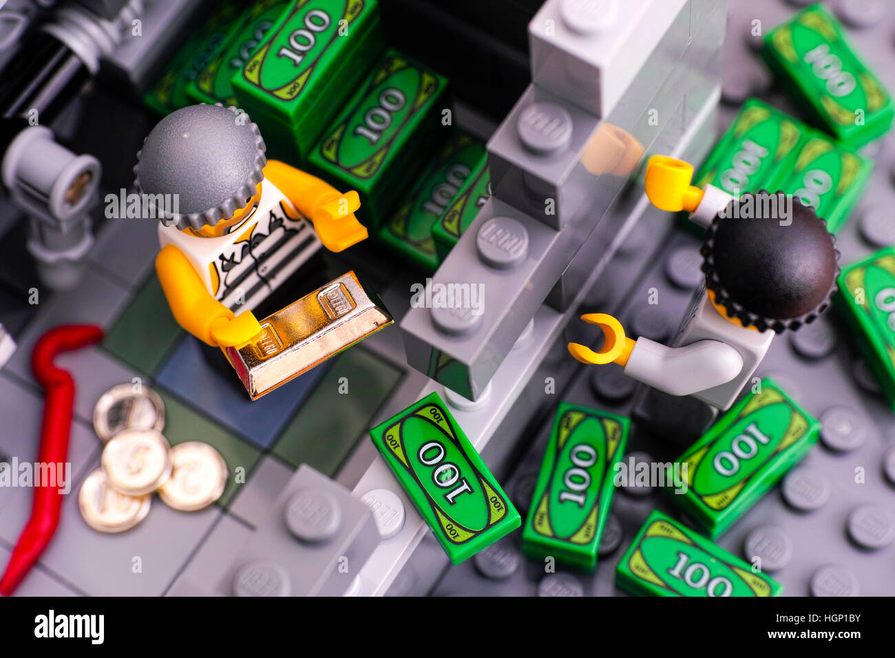 Tambov, Russian Federation - January 08, 2017 Lego bank burglary. Two robbers broke bank wall and take out money - Stock Image