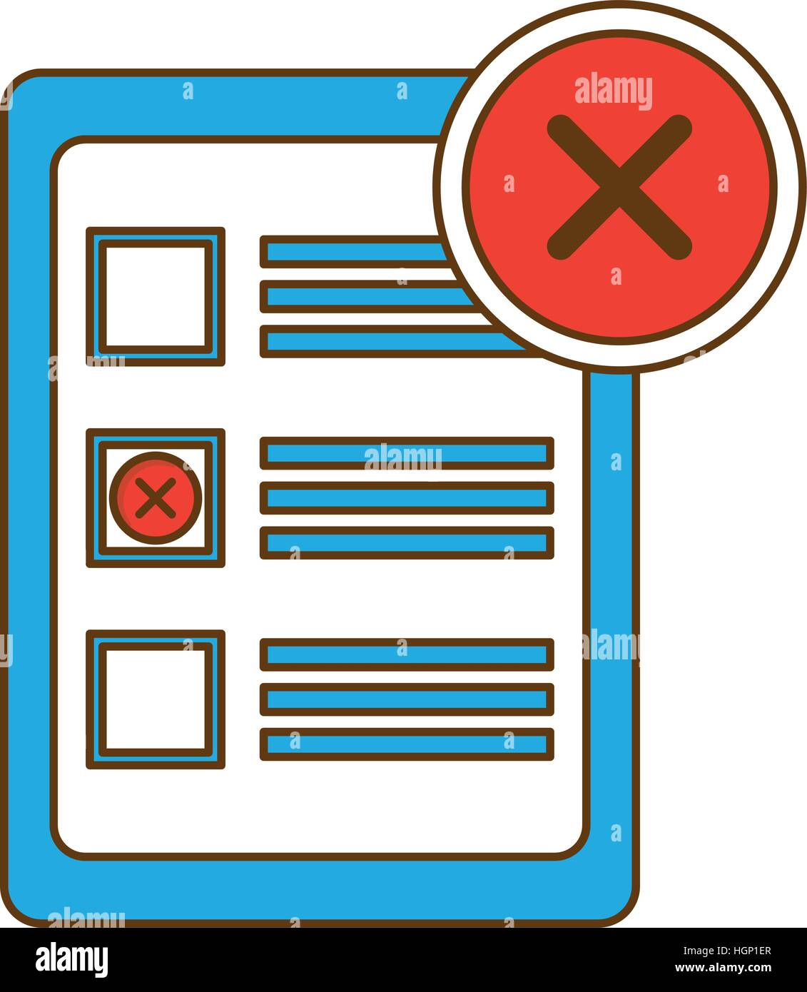 blank checklist with x icon image vector illustration design stock