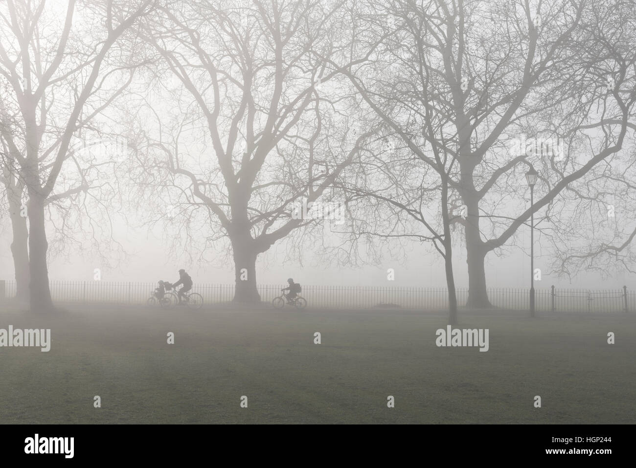 A parent and 2 children cycling to school in the morning fog, England. - Stock Image