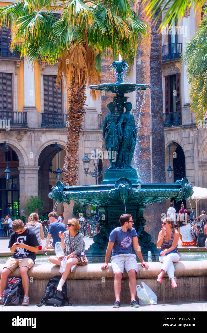 Plaza Real in Barcelona - Stock Image