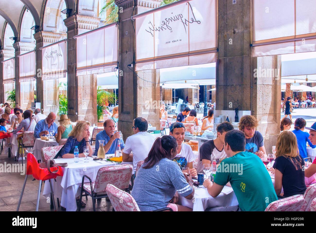 Plaza Real in Barcelona - Stock Image