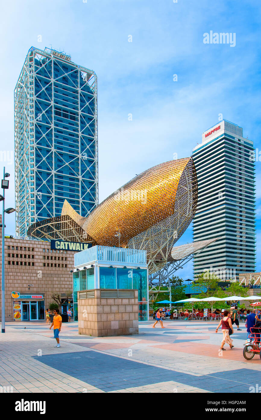 The whale by Frank Gehry at port Olympic, Barcelona - Stock Image