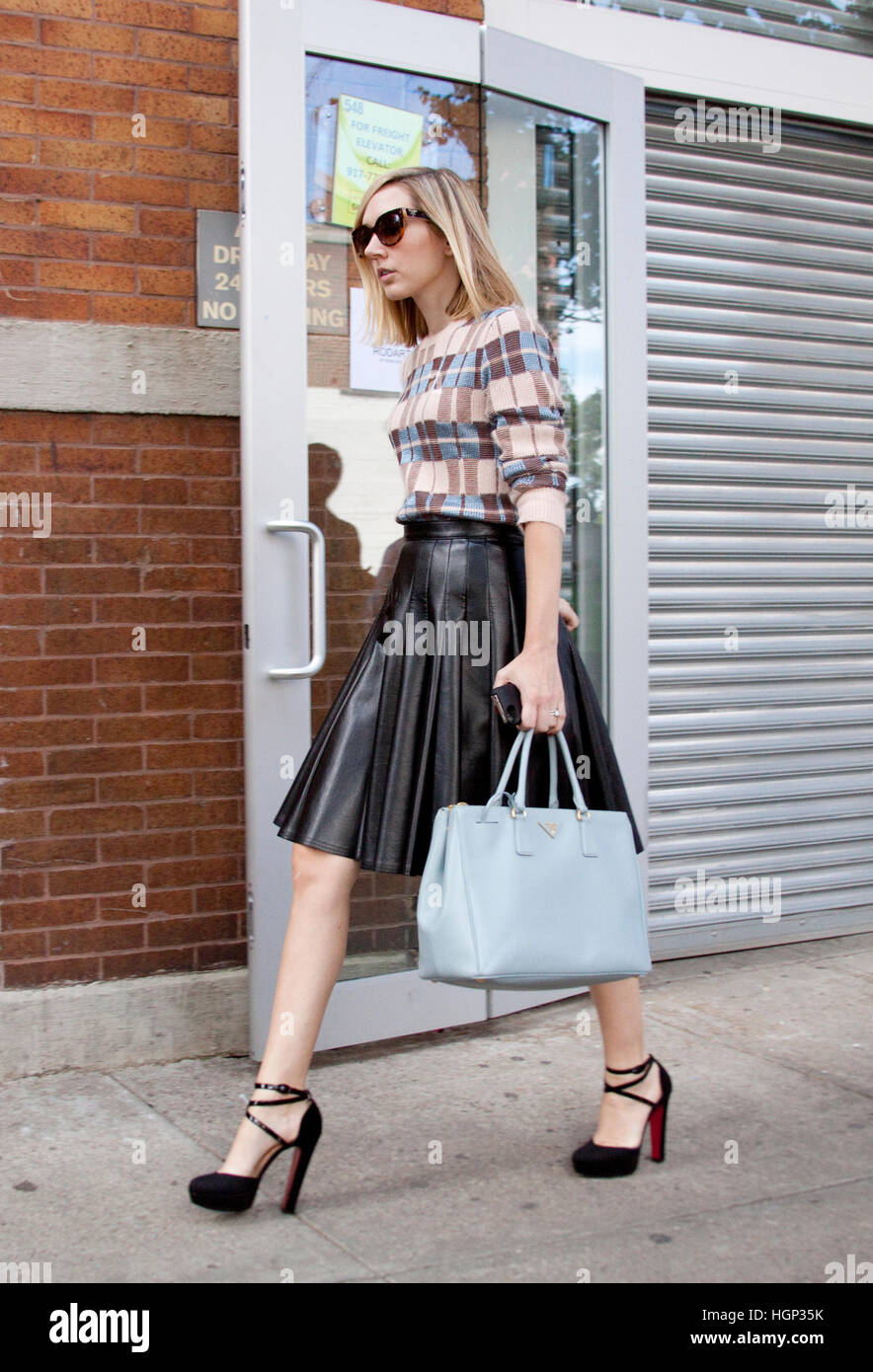 Street Style A guest after the Rodarte fashion Show in New York. Fashion Week - Stock Image