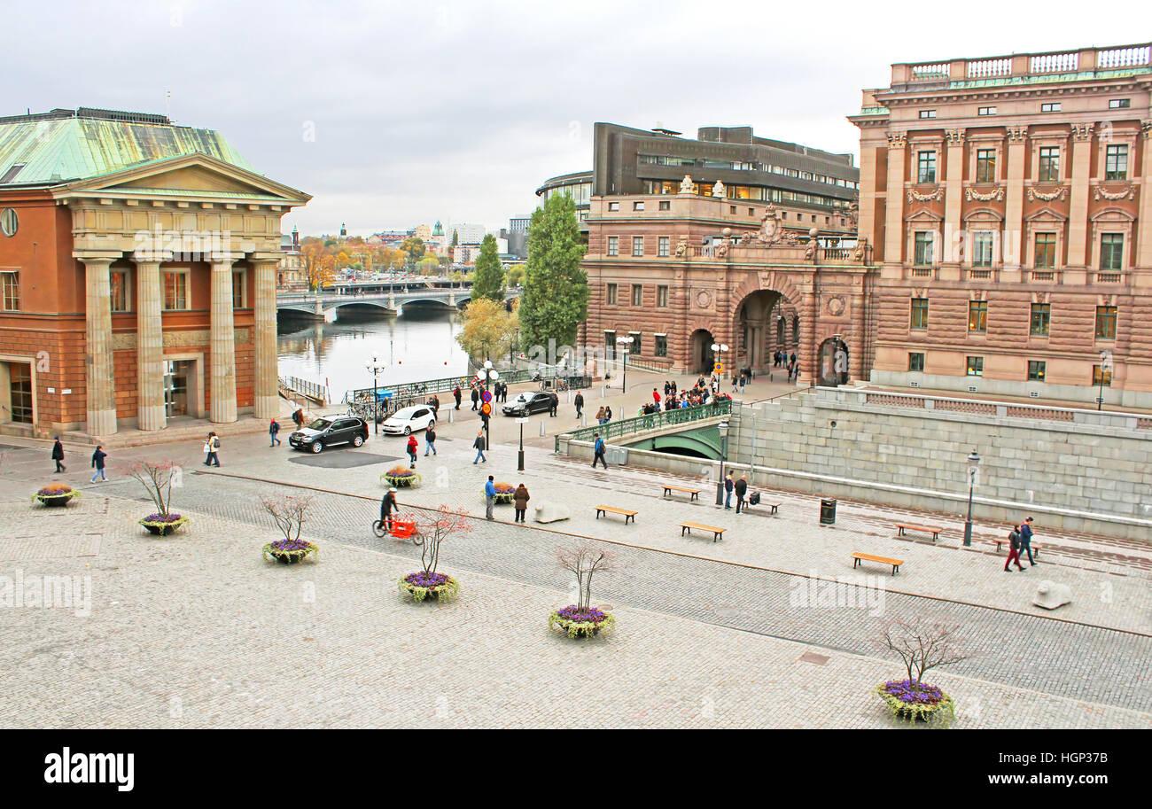 STOCKHOLM, SWEDEN - OCTOBER 17, 2013: View of Sweden Riksdag from Stockholm palace and yard in front of  Stockholm - Stock Image
