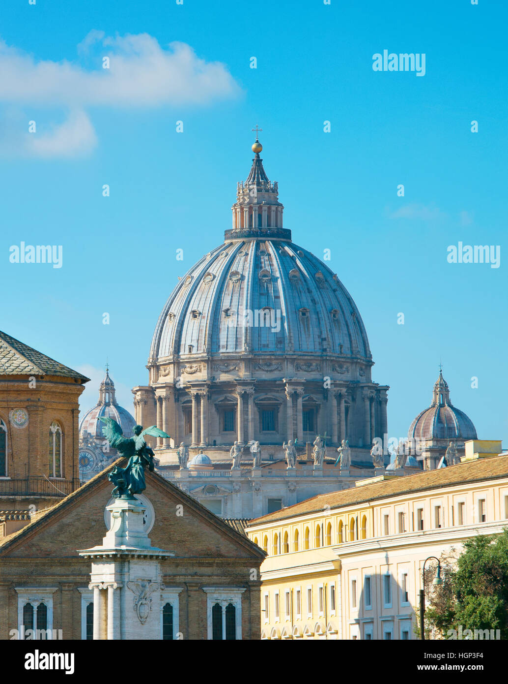 View of Rome with cupola of St. Peter Basilica in the Vatican - Stock Image