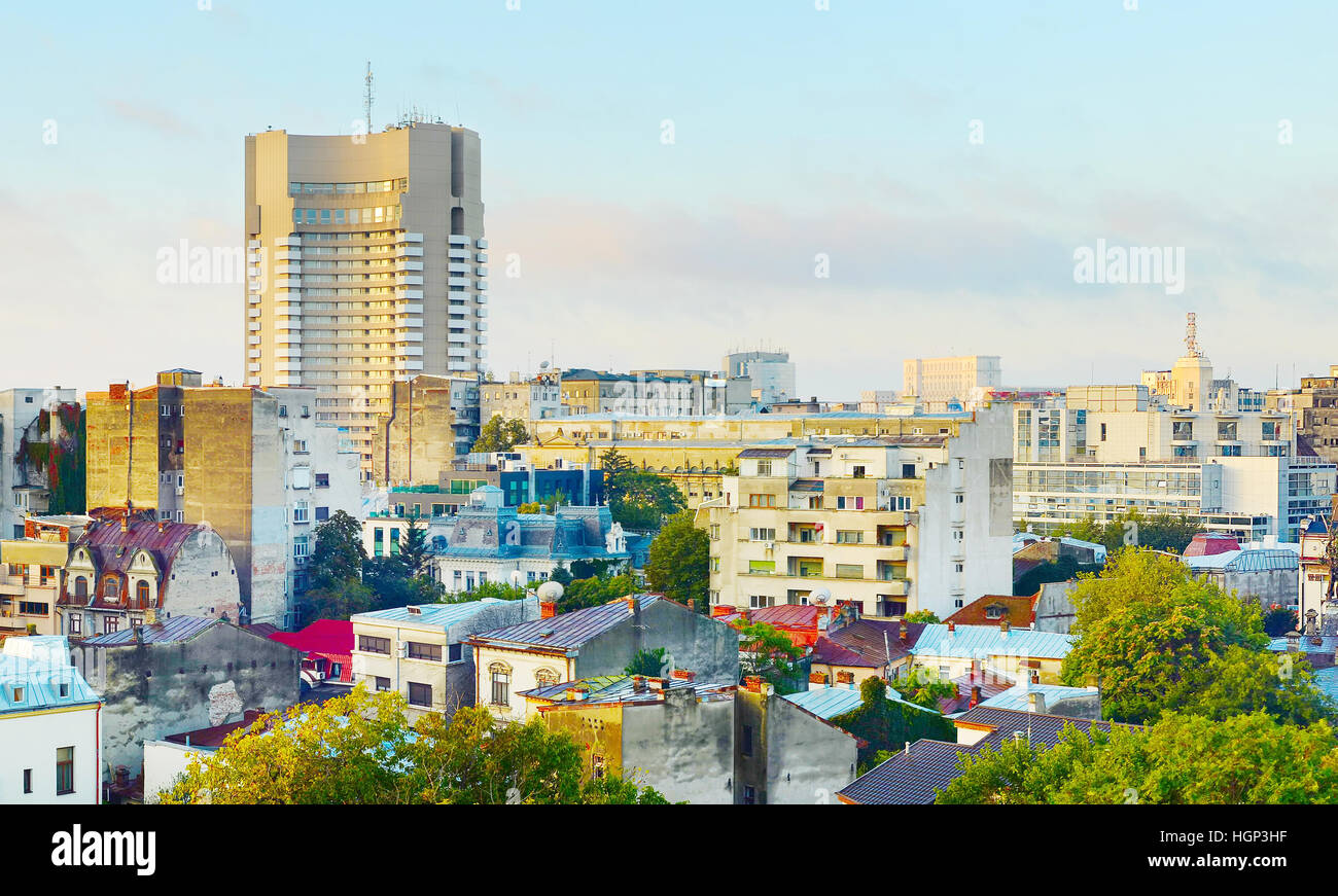 Morning view of Bucharest downtown. Romania - Stock Image