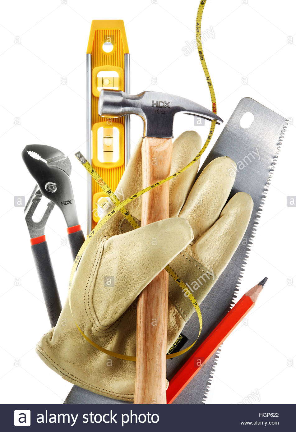 home building remodeling renovation builders tools level hammer leather gloves saw pencil - Home Building Tools