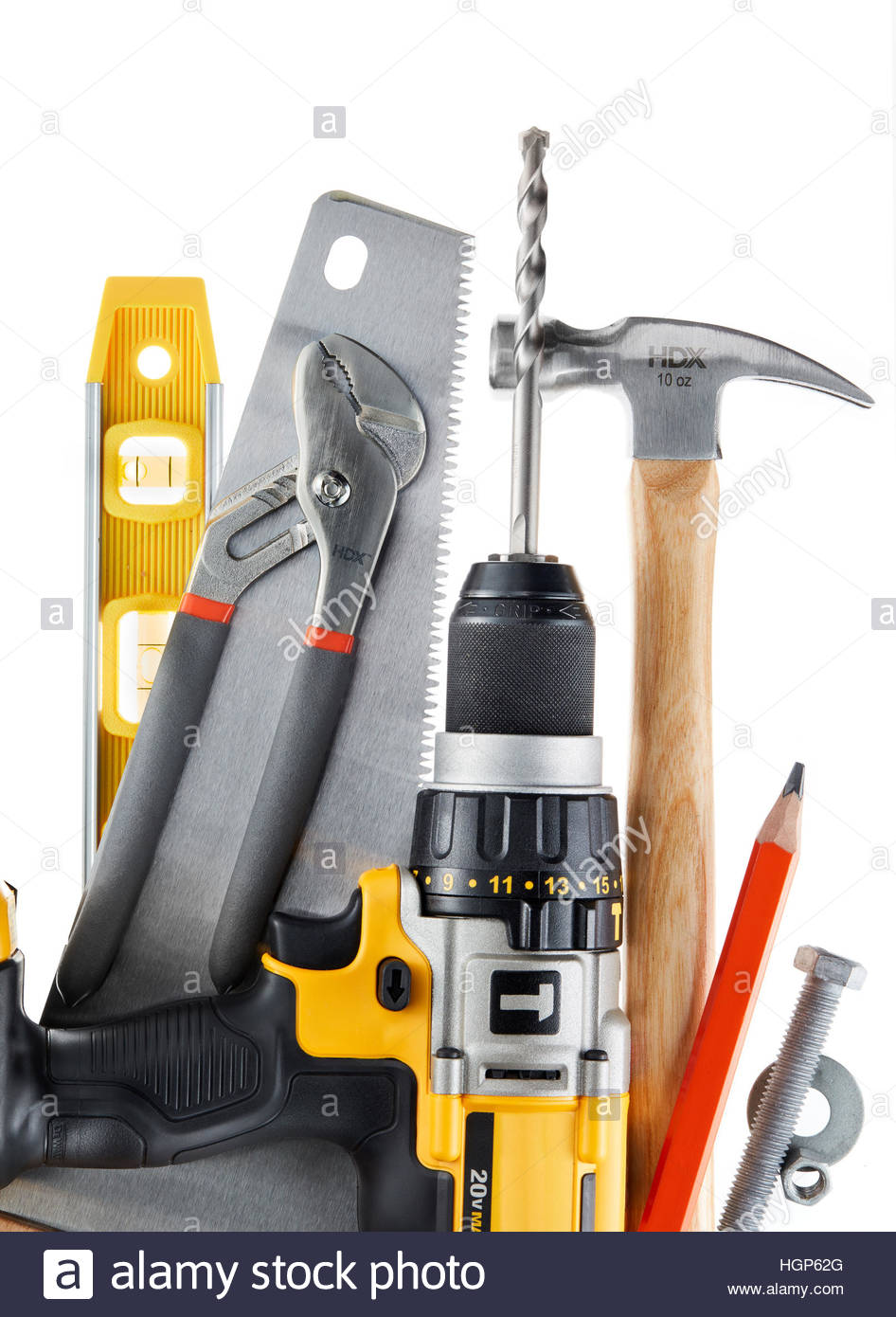 Still life of Home improvement & Remodeling builders & contractors tools Toolbox. level, saw, wrench, bolt - Stock Image