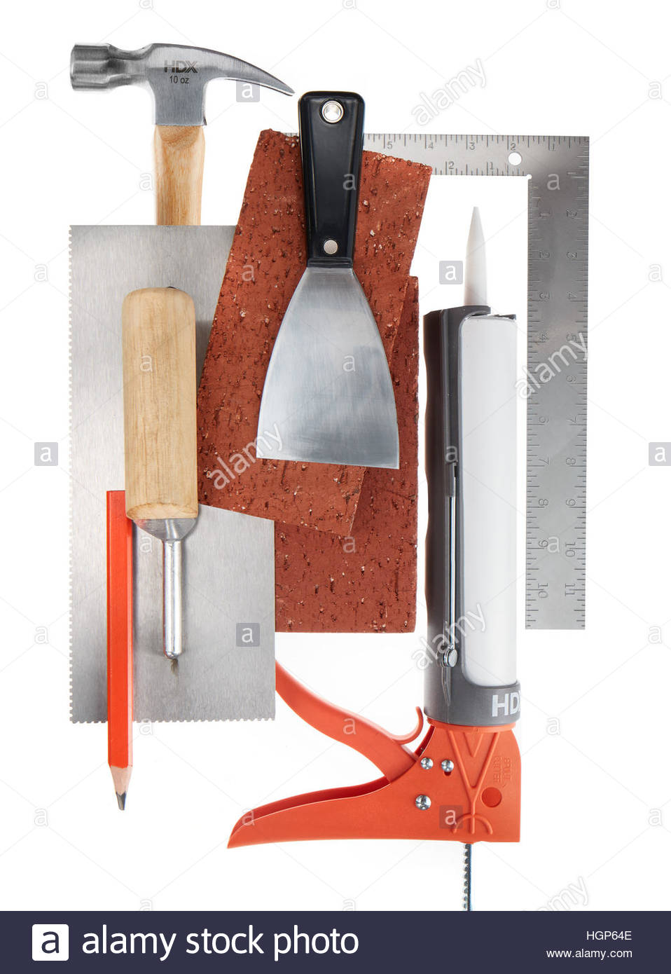 Masonry or Builders tools and materials on white background - Stock Image