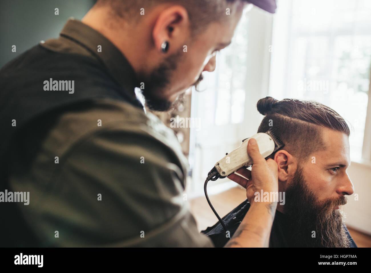 Beard Man Getting Haircut At Barber Shop Hairdresser Cutting Hair