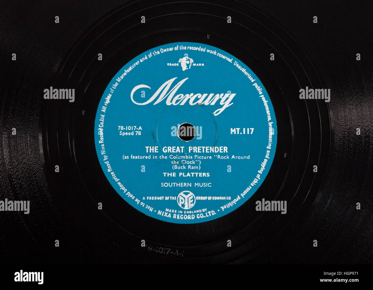 An old 78rpm vinyl record 'The Great Pretender' by The Platters - Stock Image