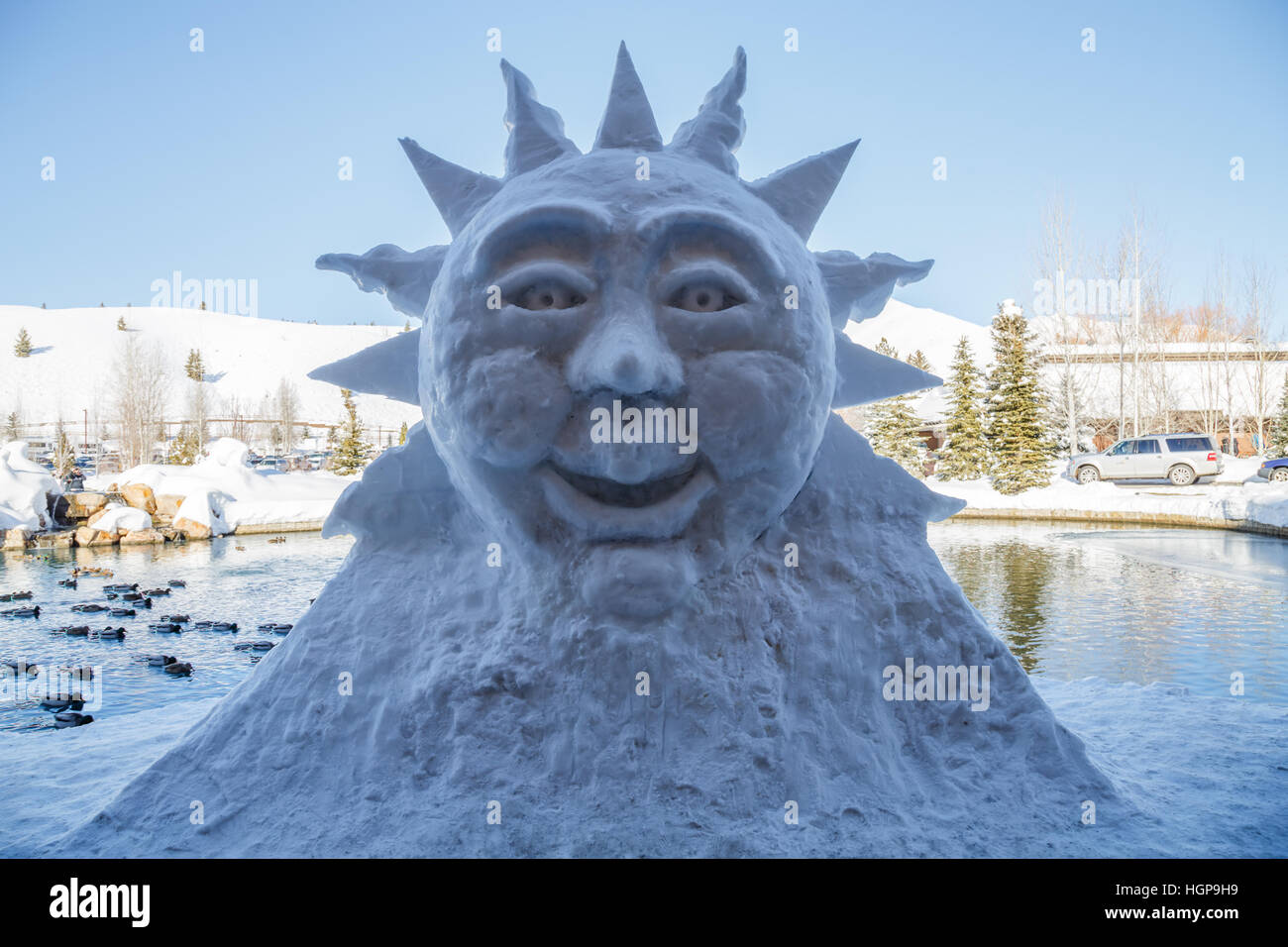 The 2016 Sun Valley Ice sculpture at Sun Valley Lodge - Stock Image