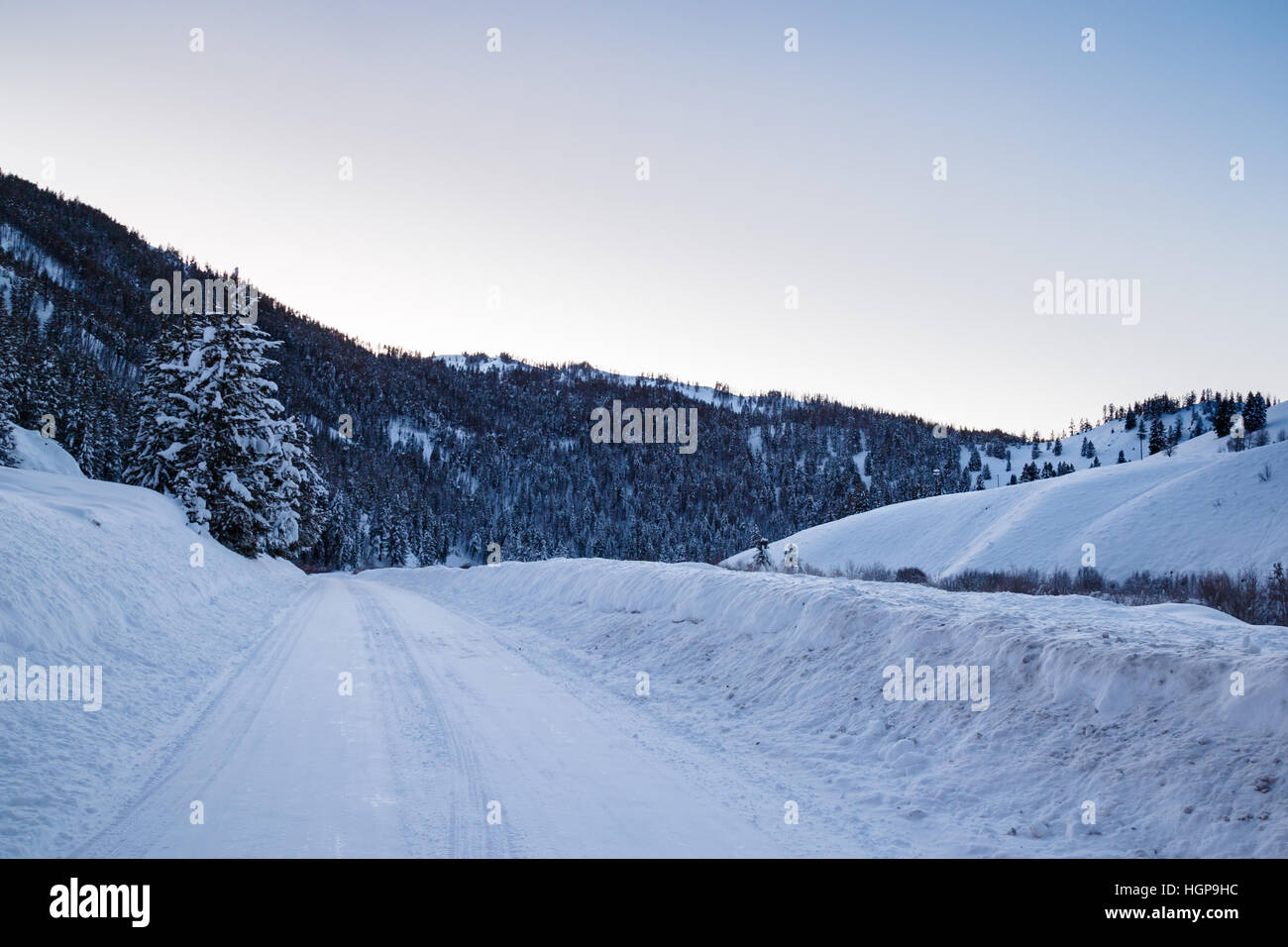 Back road in the Sawtooth Mountains, Sun Valley Idaho - Stock Image
