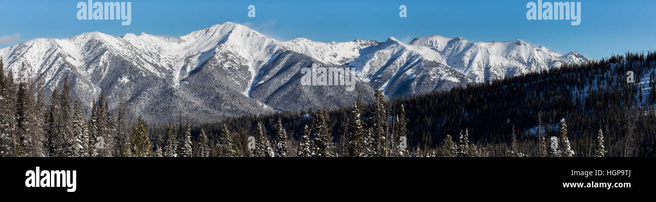 Sawtooth Mountains in the winter - Stock Image