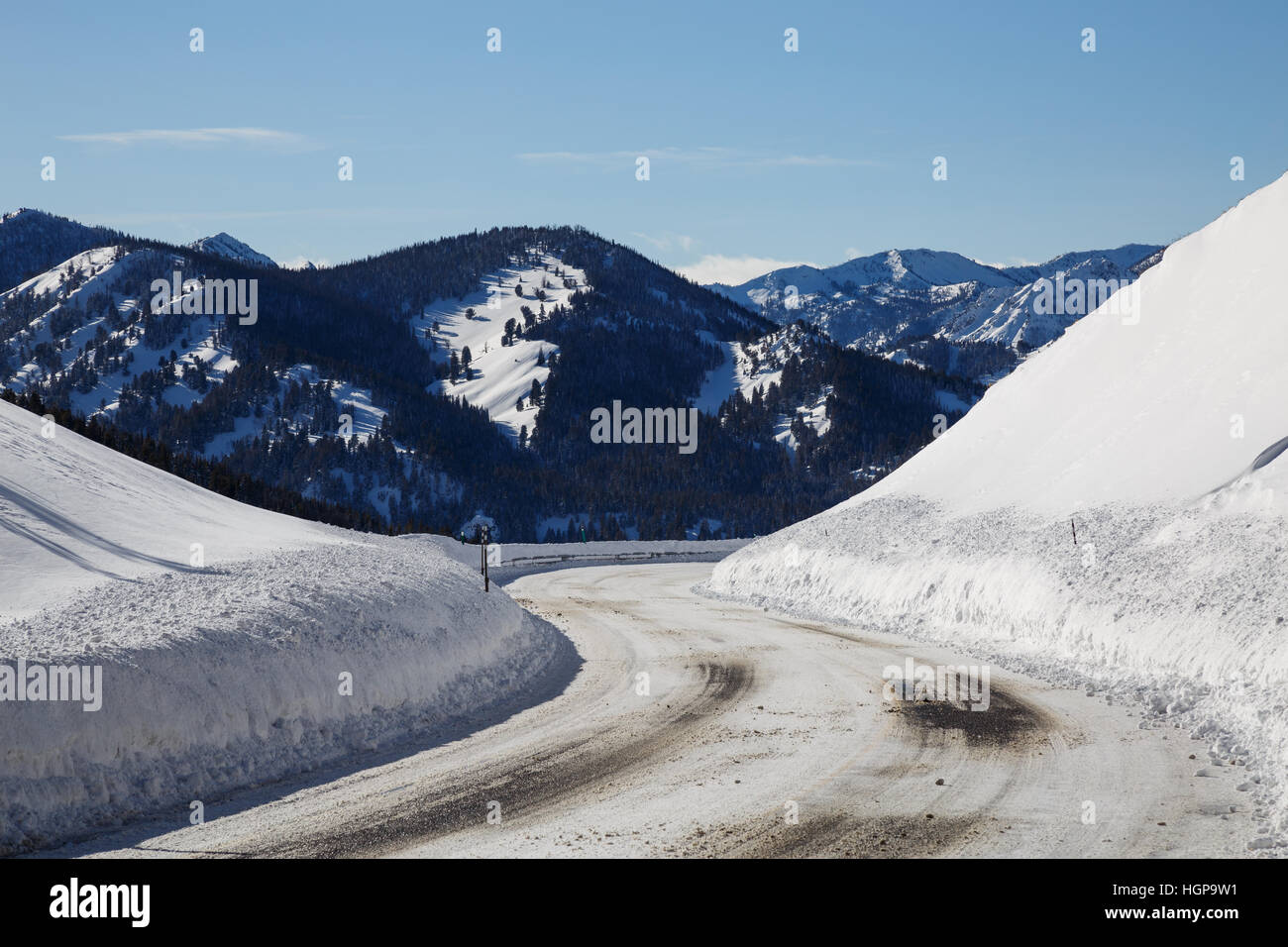 View on Idaho Highway 75 outside of Sun Valley, Idaho - Stock Image
