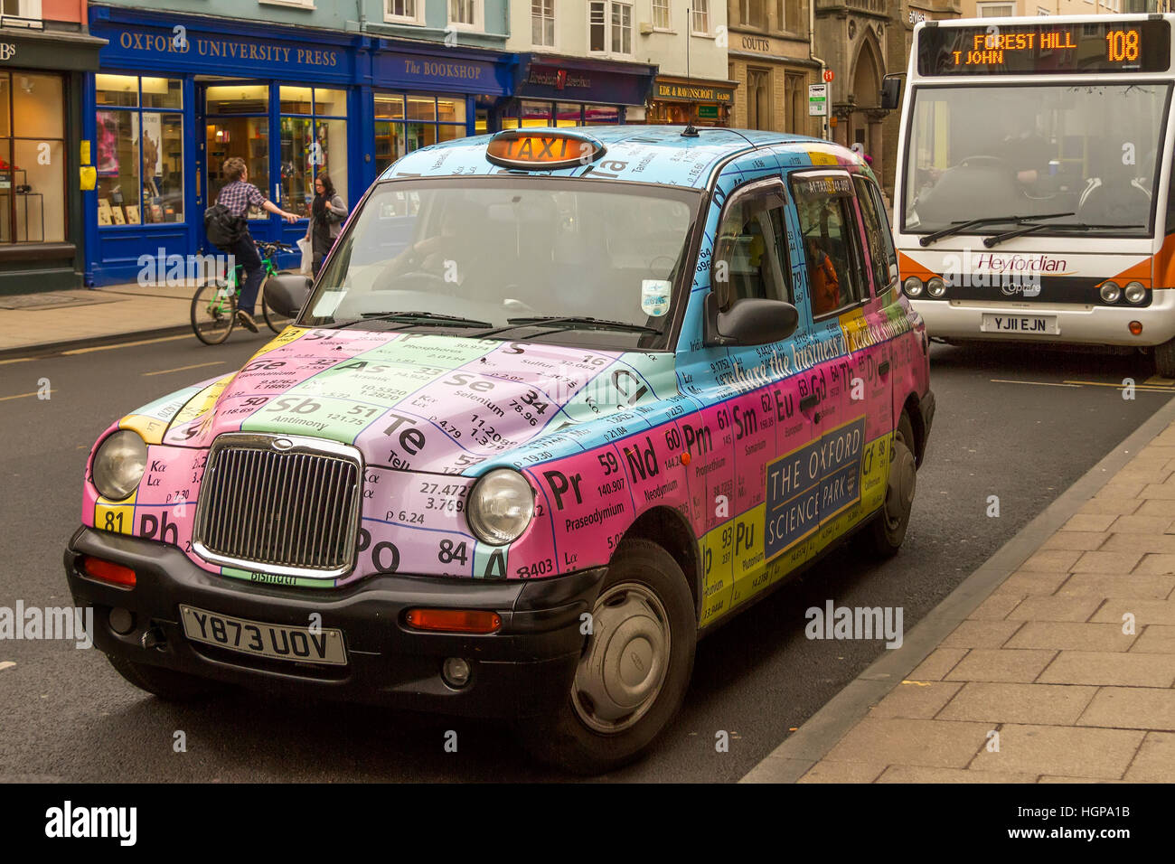 Oxford taxi displaying periodic table oxfordshire uk stock photo oxford taxi displaying periodic table oxfordshire uk urtaz Images