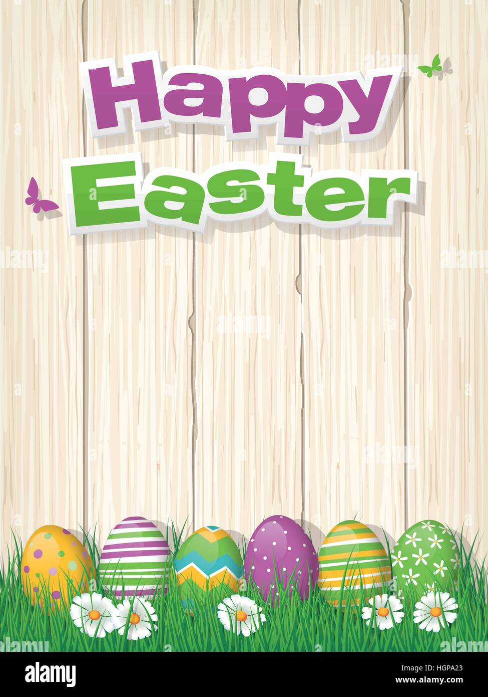Happy easter poster or greeting card with painted easter eggs in happy easter poster or greeting card with painted easter eggs in grass and copy space on wood background vector illustration m4hsunfo