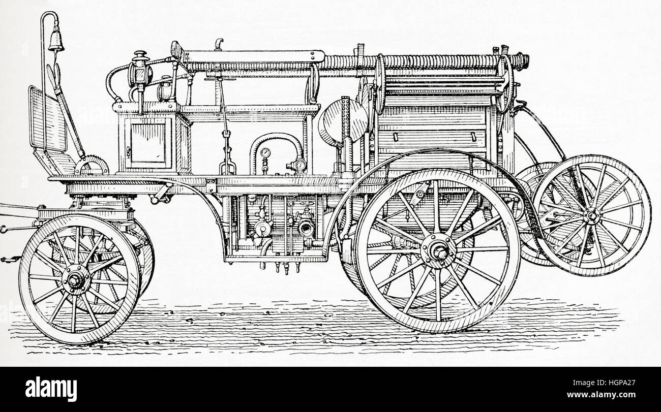 An early 20th century four wheeled horse drawn carriage with a petrol driven motor for extinguishing fires. From - Stock Image