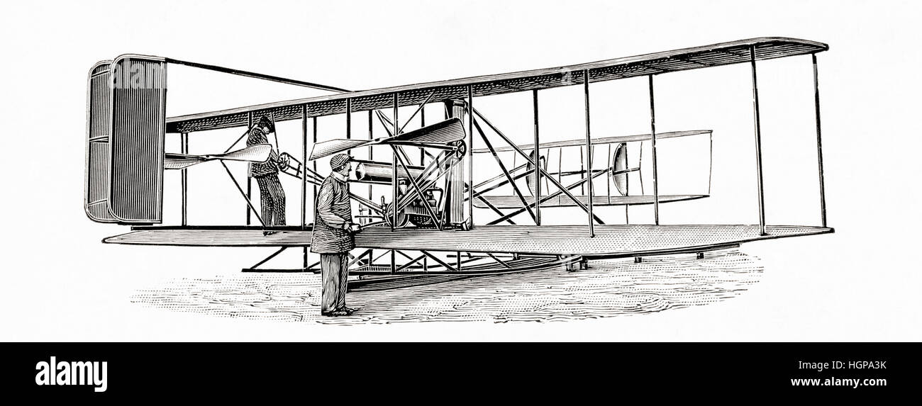 A Wright bothers bi-plane aka double-decker.  From Meyers Lexicon, published 1924. - Stock Image