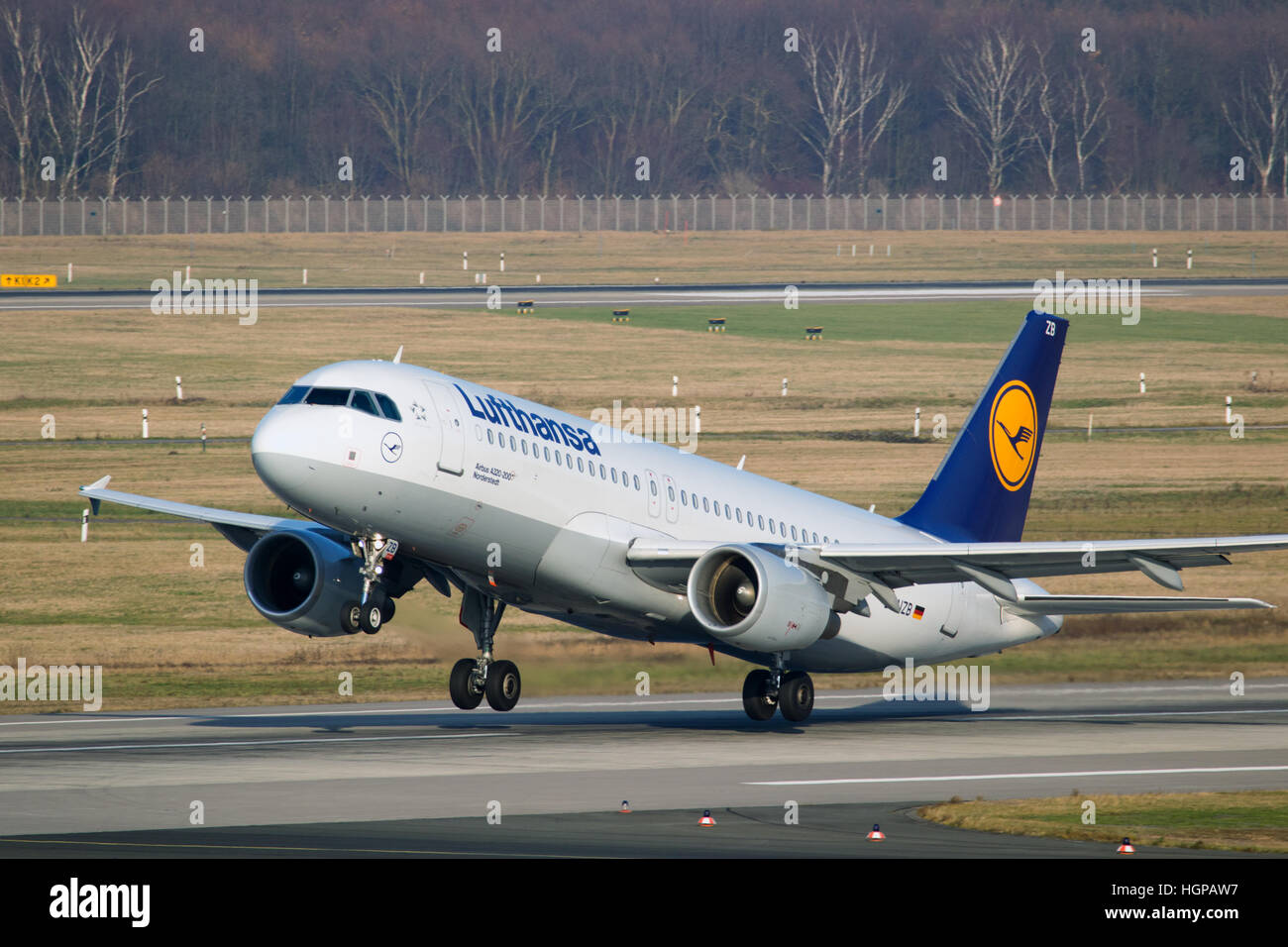 Lufthansa Airbus A320-200 departing from Dusseldorf airport. - Stock Image