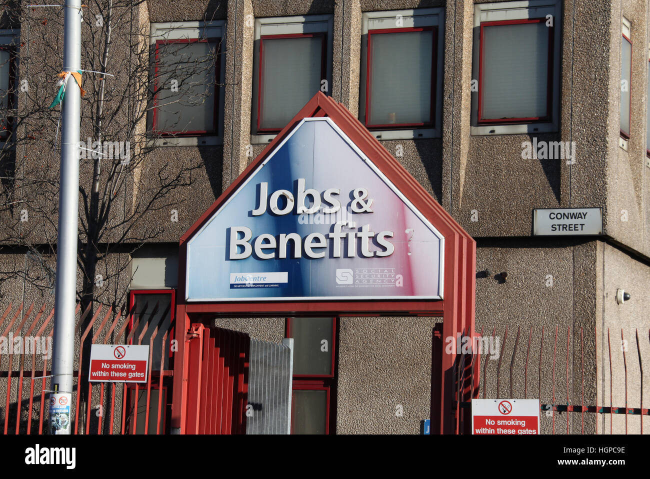 Jobs and Benefits Centre at Conway Street on the Falls Road in Belfast - Stock Image
