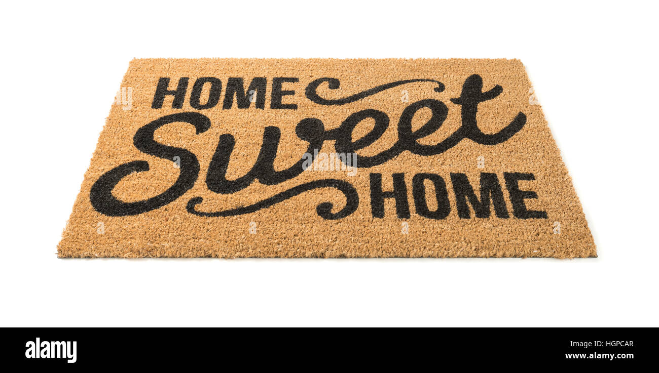 Home Sweet Home Welcome Mat Isolated on a White Background. - Stock Image