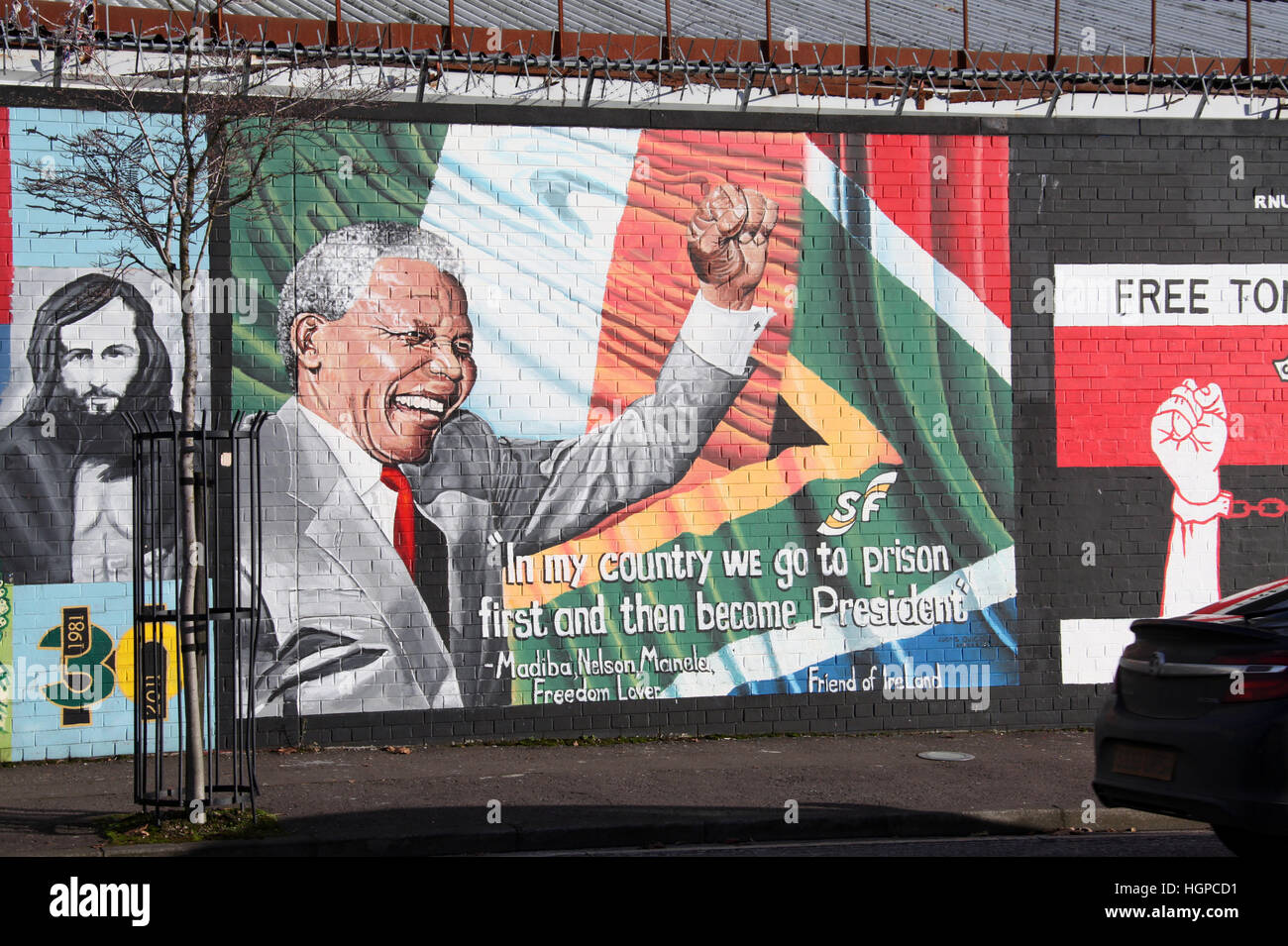 Friends of Ireland Mural on the International Peace Wall in Belfast - Stock Image